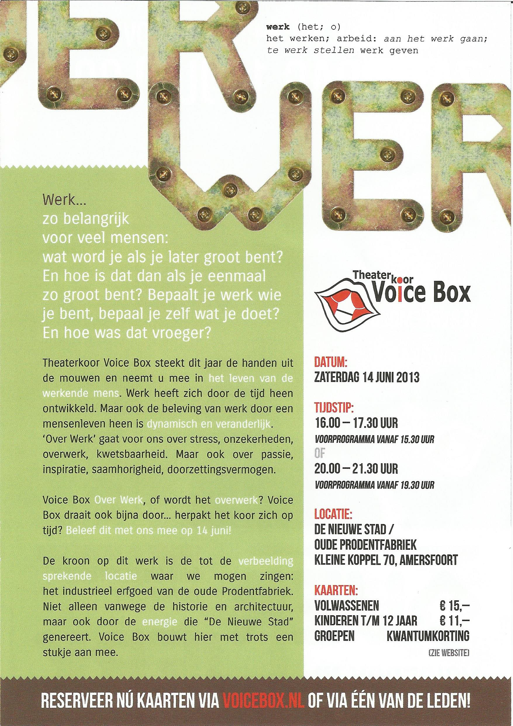 Flyer Theaterkoor Voicebox Prodentfabriek