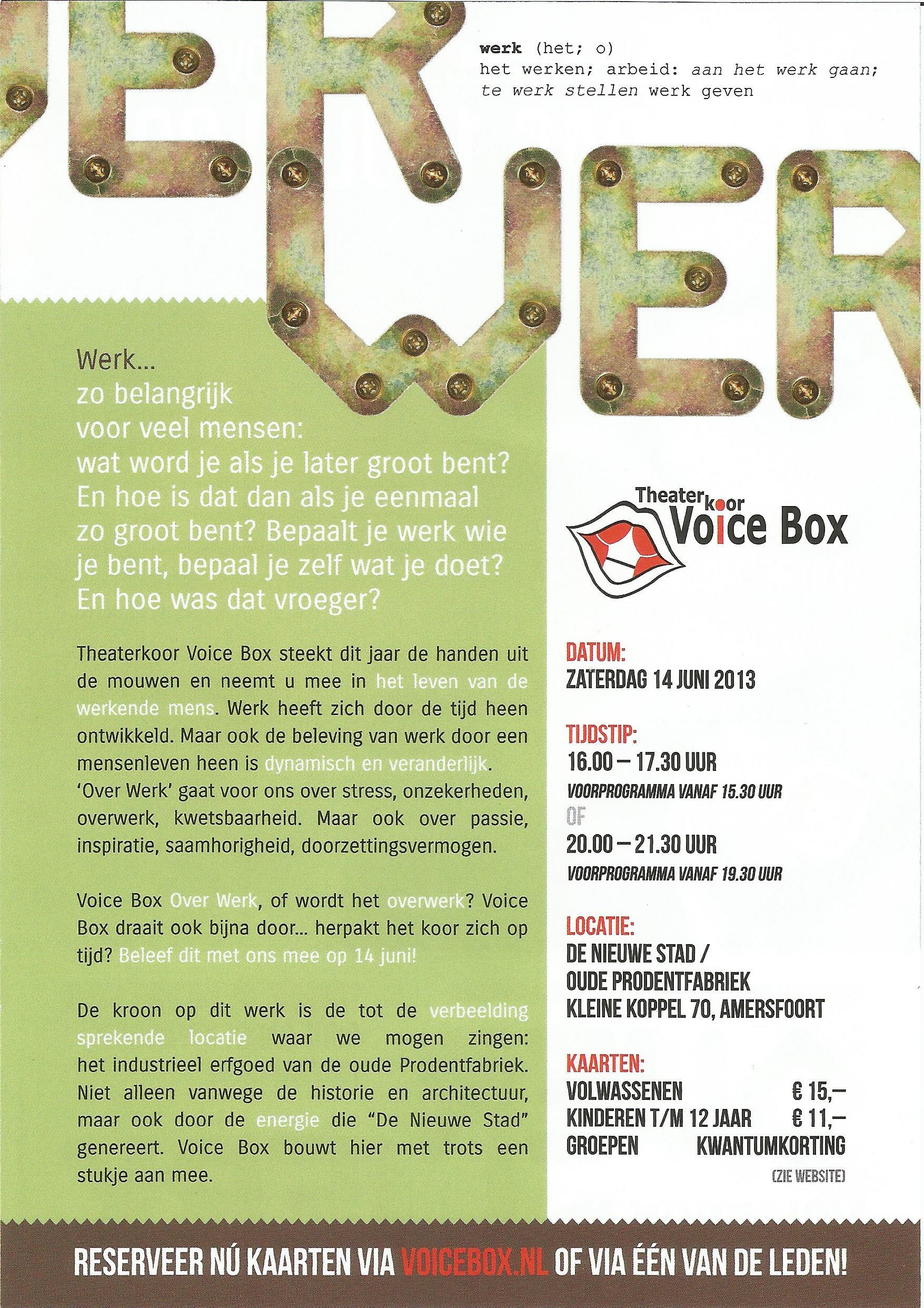 Flyer Theaterkoor Voicebox Prodentfabriek